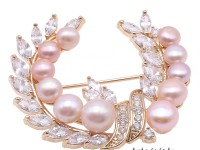 Delicate Zircon-inlaid  Pink Freshwater Pearl Brooch