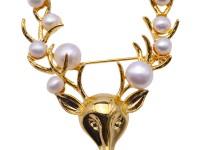 Delicate Deer-shape White Freshwater Pearl Brooch
