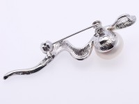 Special Snake-shape 12.5mm White Pearl Brooch