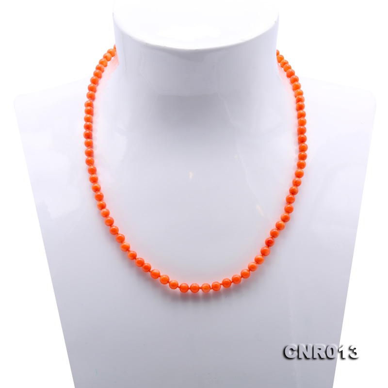 Lovely 5mm Orange Coral Necklace