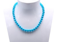 8.5-9mm Round Blue Turquoise Necklace