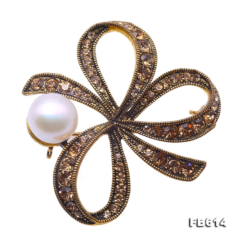 Beautiful Bowknot-shape 10mm White Pearl Brooch
