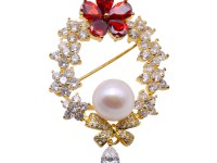 Delicate Zircon-inlaid 11.5mm Freshwater Pearl Brooch