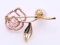 Lovely Rose-shaped 11mm White Round Edison Pearl Brooch