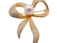Beautiful Bowknot-shape 9.5x12mm White Pearl Brooch