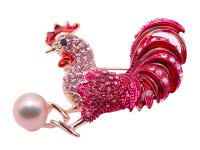 Exquisite 9.5x12mm Colorful Rooster Pearl Brooch