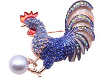 Exquisite 12mm Colorful Rooster Pearl Brooch