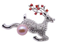 Exquisite Sika Deer-shape11.5x14mm Freshwater Pearl Brooch