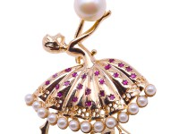 Cute Ballet Dancer Design 9.5×11.5mm White Pearl Brooch