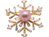 Beautiful 10×13.5mm Lavender Pearl Snowflake Brooch