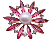 Delicate Crystal-Flower & 11mm White Pearl Brooch