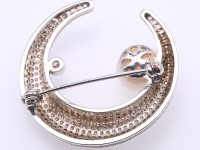 Elegant Moon-shape Zircon-inlaid White Freshwater Pearl Brooch