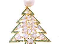 Exquisite Christmas-Tree-shape 11.5mm Freshwater Pearl Brooch