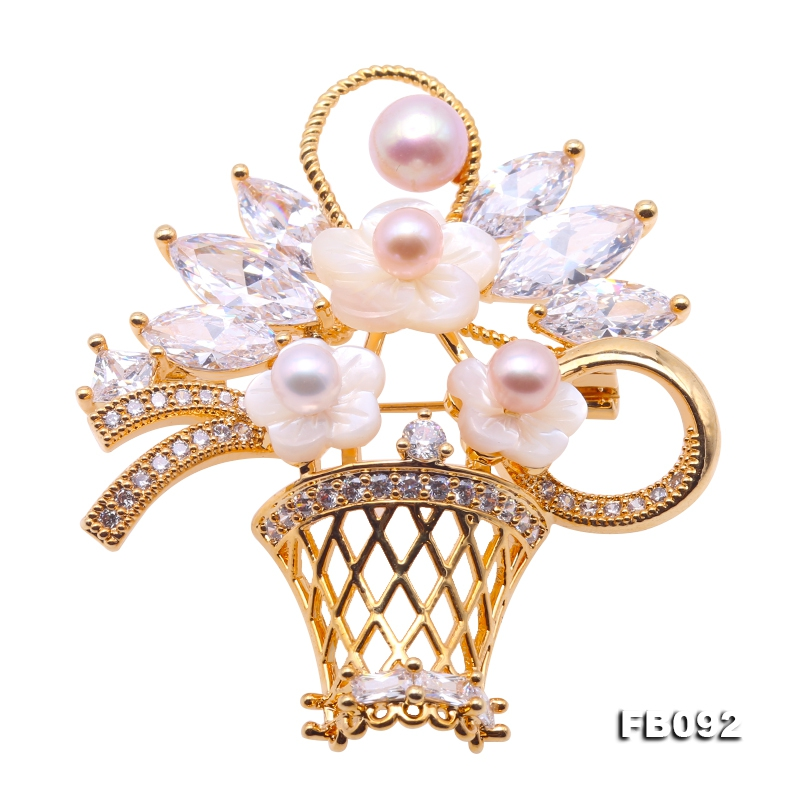 Exquisite Flower Basket 5-7mm Multicolor Pearl Brooch