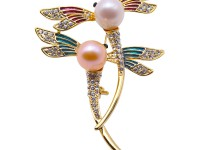 Lovely Dragonfly-shape 10×12.5mm Freshwater Pearl Brooch