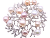 Delicate Zircon-inlaid 7.5-9.5mm Colorful Freshwater Pearl Brooch