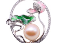 12.5mm Pink Freshwater Pearl Brooch with Zircons