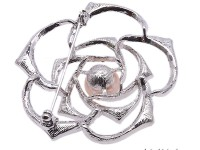 High Quality 11mm White Pearl Rose Brooch