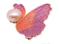 Beautiful 10.5mm Pink Pearl Butterfly Brooch