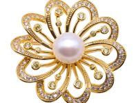 Beautiful Flower-shape 12.5mm White Pearl Brooch