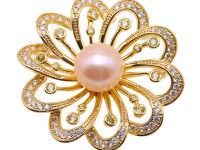 Beautiful Flower-shape 13.5mm Pink Pearl Brooch