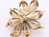 Delicate Zircon-Flower & 13.5mm Pink Pearl Brooch