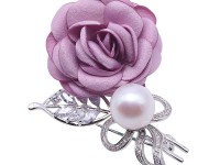 Lovely Rose-shaped 12.5mm White Pearl Brooch
