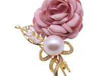 Lovely Rose-shaped 13mm White Pearl Brooch