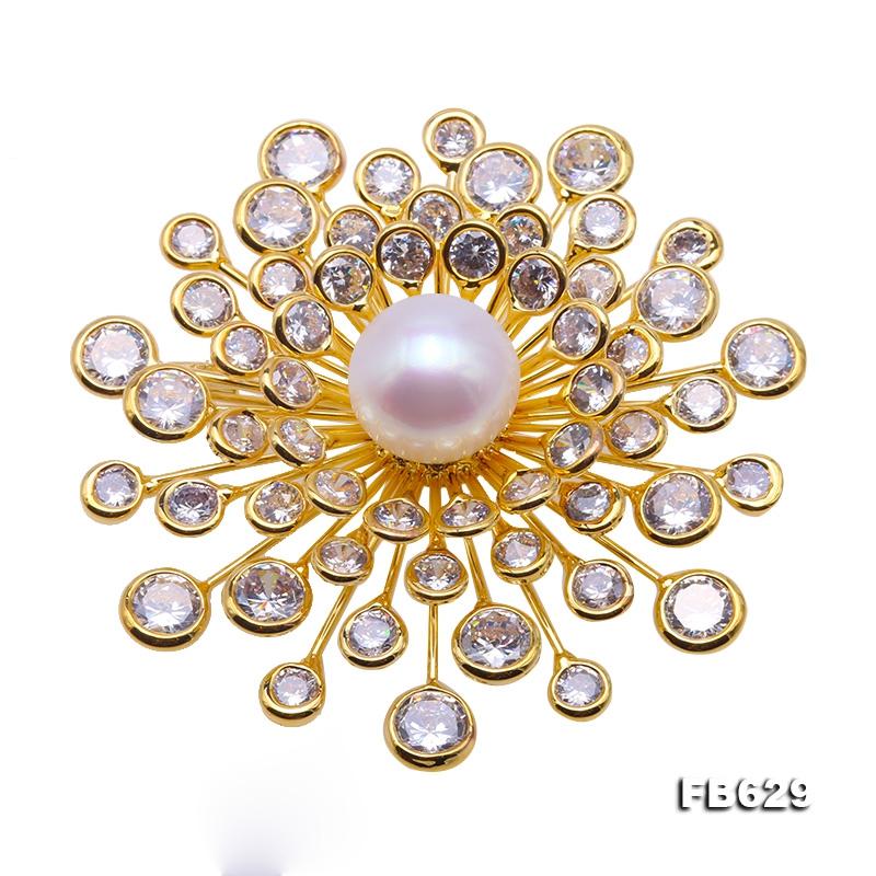 Beautiful Flower-shape 13mm White Pearl Brooch