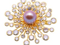 Beautiful Flower-shape 14mm Lavender Pearl Brooch