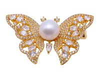 Gorgeous 10.5mm White Pearl Butterfly Brooch
