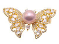 Gorgeous 120.5mm Lavender Pearl Butterfly Brooch