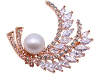 Delicate Zircon-inlaid 12mm Freshwater Pearl Brooch