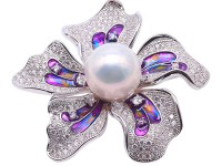 Bright Zircon Flower Brooch with 14.5mm White Edison Pearl