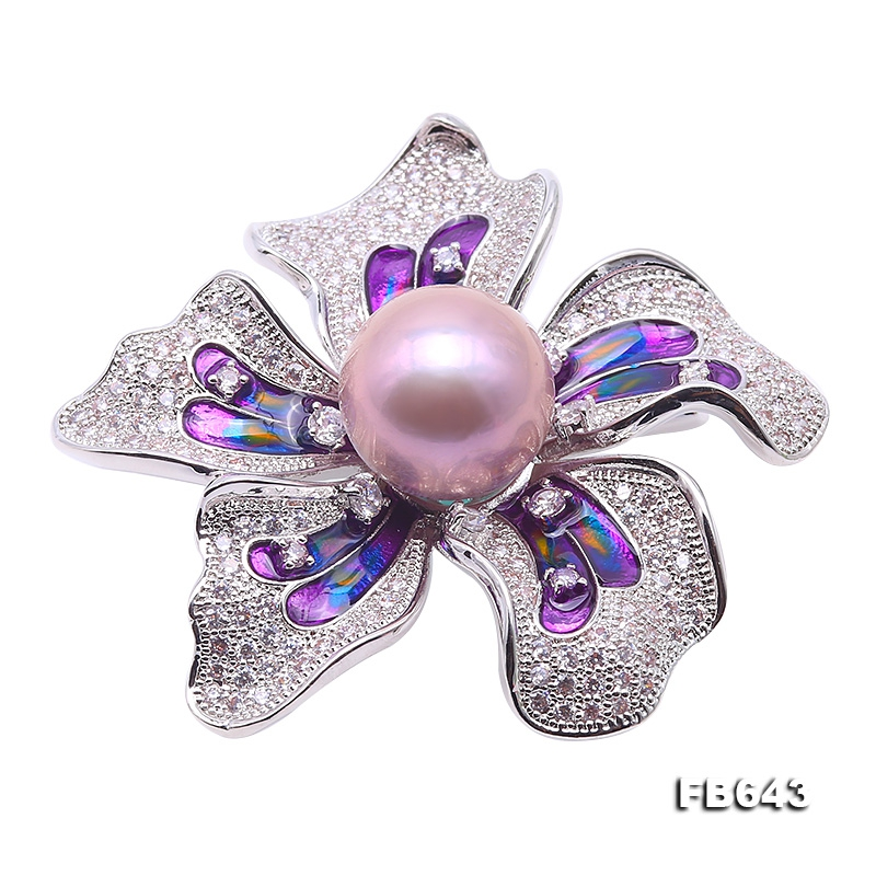 Bright Zircon Flower Brooch with 14mm Lavender Edison Pearl