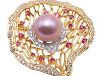 Lustrous 13.5mm Lavender Round Edison Pearl Brooch/Pendant