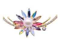 Delicate Crystal-Flower & 12mm White Pearl Brooch