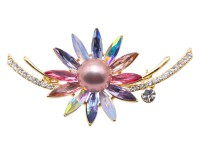Delicate Crystal-Flower & 12.5mm Lavender Pearl Brooch