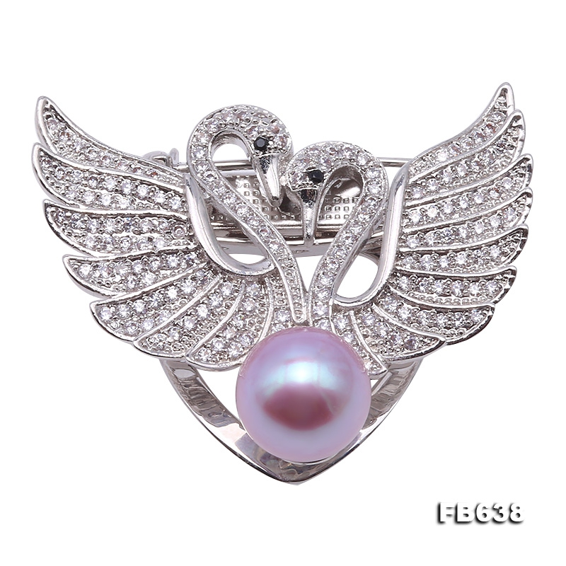Exquisite Swan-shape 10.5mm Lavender Freshwater Pearl Brooch