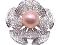 High Quality 13.5mm Lavender Pearl Flower Brooch