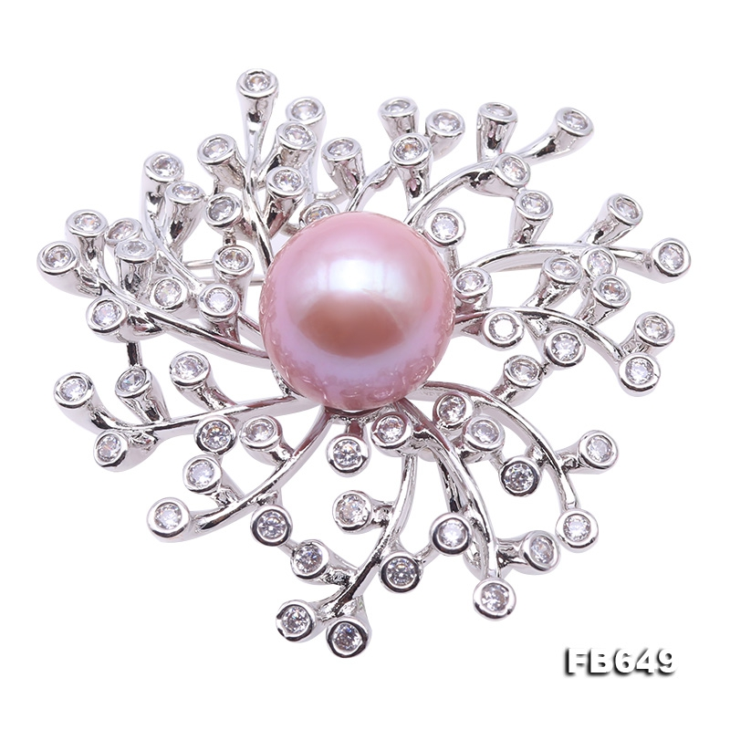 Lustrous 14mm Lavender Round Edison Pearl Brooch/Pendant