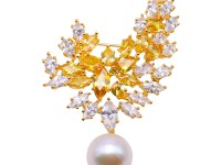Lustrous 13.5mm White Round Edison Pearl Brooch/Pendant
