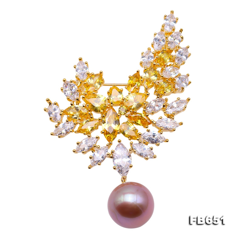 Lustrous 12.5mm Lavender Round Edison Pearl Brooch/Pendant