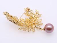 Lustrous 12.5mm Lavender Round Edison Pearl Brooch/Pendant