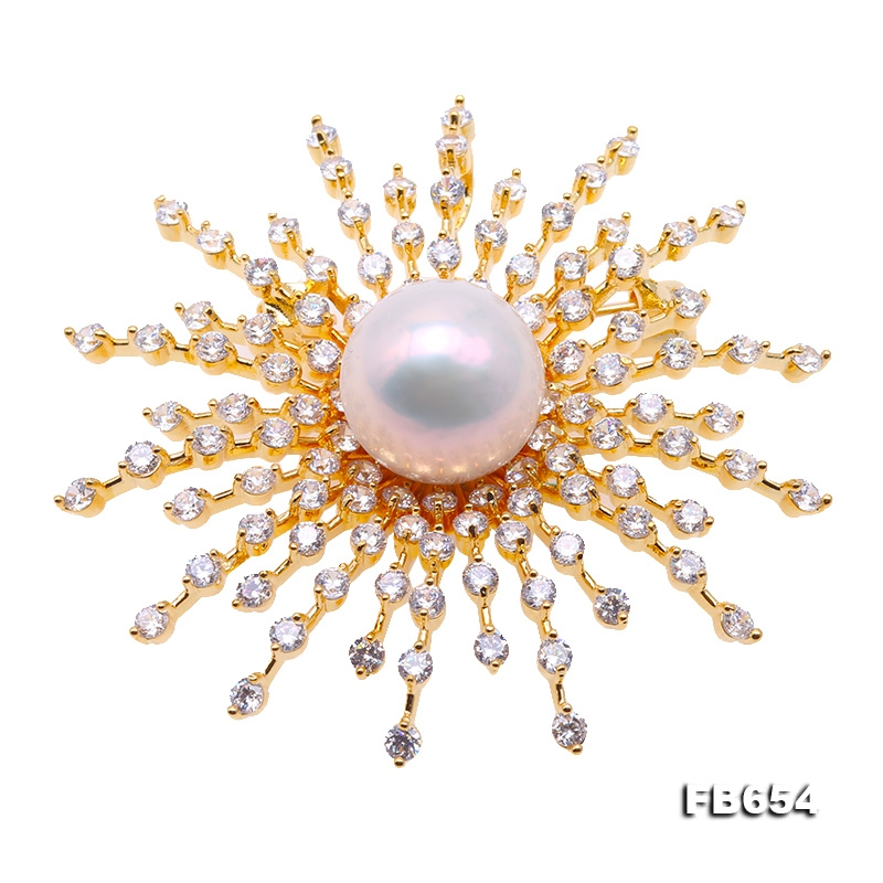 Lustrous 14.5mm White Round Edison Pearl Brooch/Pendant