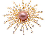 Lustrous 12mm Lavender Round Edison Pearl Brooch/Pendant