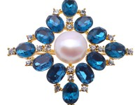 Delicate Zircon-inlaid 12mm Freshwater Pearl Brooch/Pendant