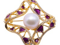 Lustrous 14mm White Round Edison Pearl Brooch