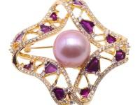 Lustrous 14mm Lavender Round Edison Pearl Brooch/Pendant
