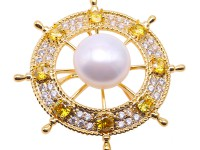 Delicate Zircon-inlaid 13mm Freshwater Pearl Brooch